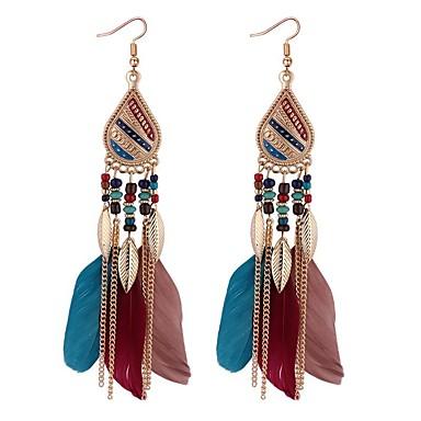 povoljno Modne naušnice-Žene Viseće naušnice Long Perje dame Vintage Etnikai Moda Američki domorodac Perje Naušnice Jewelry Crn / Kava / Duga Za Zabava / večer Večer stranka 1 par