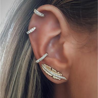 voordelige Oorbellen-Dames Oorpiercing Oorknopjes Clip oorbellen Cuff armband Bladvorm Dames Vintage Modieus oorbellen Sieraden Zilver Voor Feestdagen Bar 4pcs