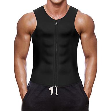 cheap Fitness Gear & Accessories-Sweat Vest Waist Trainer Vest Neoprene Tank Top Sports Neoprene Yoga Exercise & Fitness Gym Workout Zipper Weight Loss Tummy Fat Burner For Men's Abdomen