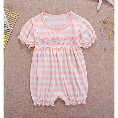 c55234b44f81 Baby Girls  Basic Print Short Sleeves Cotton Romper Pink   Toddler 6724998  2019 –  6.61