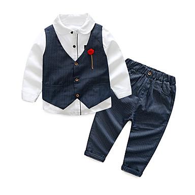 povoljno Odjeća za dječake-Djeca Dječaci Aktivan Osnovni Party Praznik Jednobojni Na točkice Color block Kolaž Print Dugih rukava Regularna Normalne dužine Pamuk Komplet odjeće Crn