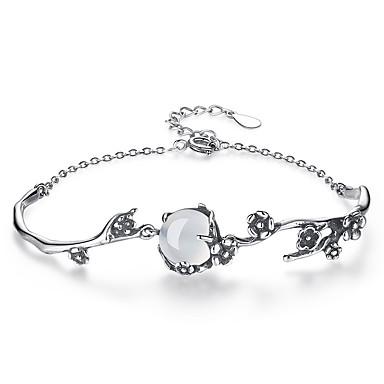levne Dámské šperky-Dámské Nefritově zelená Měsíční kámen Řetězové & Ploché Náramky Kytky dámy Módní Slitina Náramek šperky Stříbrná Pro Denní Formální