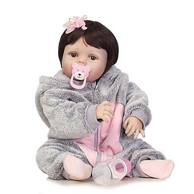 NPKCOLLECTION NPK DOLL Reborn-dukker Girl Doll Babyjenter 24 tommers Full Body Silicone Silikon Vinyl - Newborn Gave Barnesikker Ikke Giftig Tippede og forseglede negler Naturlig hudton Barne Jente