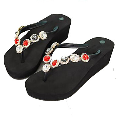 494d2e9d6915 Women s PU(Polyurethane) Spring   Summer T-Strap Slippers   Flip-Flops  Wedge Heel Open Toe Rhinestone   Beading Black   Dark Grey   Wine   Color  Block ...