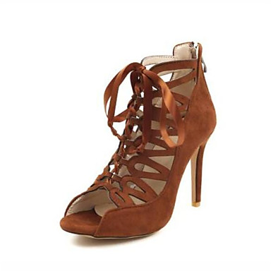 levne Dámské sandály-Dámské Sandály Vysoký úzký Otevřený palec Nappa Leather Pohodlné Léto Černá / Fialová / Hnědá