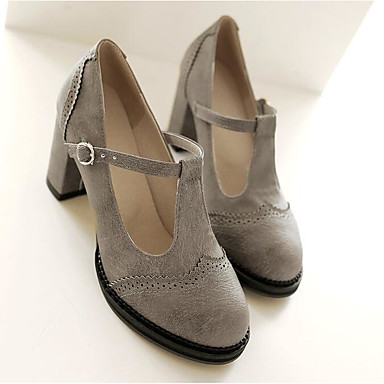 cheap Women's Heels-Women's Heels Chunky Heel Round Toe Mary Jane Daily Office & Career Buckle PU Summer Black / Yellow / Gray