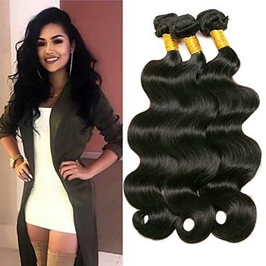 povoljno Ekstenzije od ljudske kose-3 paketa Indijska kosa Wavy Ljudska kosa Ljudske kose plete Ekstenzije od ljudske kose 8-28 inch Crna Prirodna boja Isprepliće ljudske kose Klasični Žene proširenje Proširenja ljudske kose / 8A