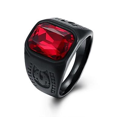 levne Pánské šperky-Pánské Band Ring Pečetní prsten 1ks Červená Sklo Nerezové Circle Shape Geometric Shape Vintage Punk Denní Street Šperky Retro styl 3D Solitaire kreativita Cool