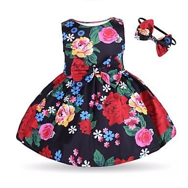 povoljno Odjeća za bebe-Dijete Djevojčice Aktivan / Osnovni Cvjetni print Bez rukávů Pamuk Haljina Red / Dijete koje je tek prohodalo