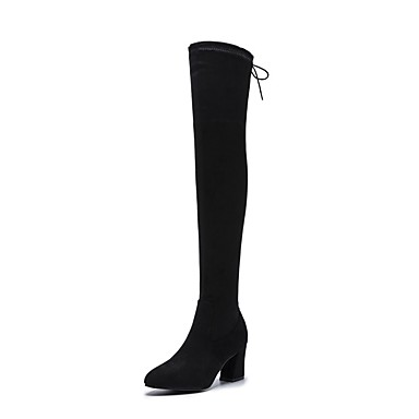 e56d8ddd27d Women s Suede   Elastic Fabric Fall   Winter Slouch Boots Boots Chunky Heel  Pointed Toe Over The Knee Boots Black 6830324 2019 –  39.99