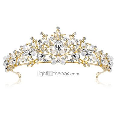 levne Dámské šperky-Dámské Květinový Elegantní Štras Pozlacené Slitina Kubický zirkon Diadémy čelo Crown Svatební Párty