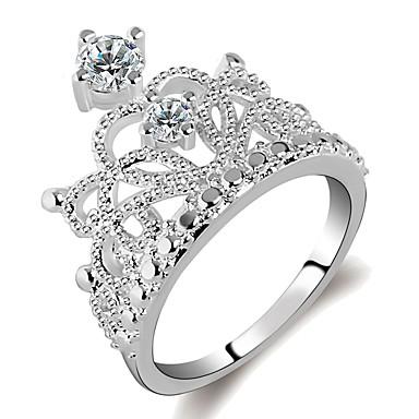 billige Motering-Dame Ring Princess Crown Ring 1pc Sølv Messing Platin Belagt Fuskediamant damer Mote Elegant Daglig Arbeid Smykker Elegant Hul Krone Tro Kul