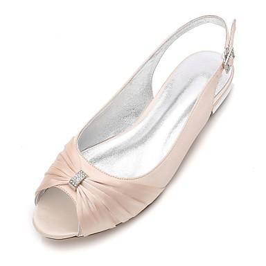 billige Utvalgte tilbud-Dame bryllup sko Flat hæl Titte Tå Rhinsten Sateng Komfort / Slingback Sko Vår Blå / Lysebrun / Krystall / Bryllup / Fest / aften / EU39