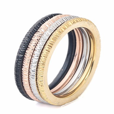 cheap Rings-Couple's Ring Set Multi Finger Ring 1pc Rainbow Titanium Steel Round Ladies Stylish Simple Street Club Jewelry Stylish Stack Matching Creative Cool