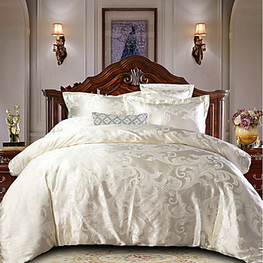 cheap Home & Garden-Duvet Cover Sets Luxury Polyster Jacquard Ultra Soft Sliver 4 Piece Bedding Set With Pillowcase Bed Linen Sheet Single Double Queen King Size Quilt