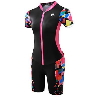 malciklo femme manches courtes tenue de triathlon trifonction vert noir rose orange grandes