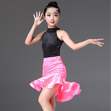 4438bf996e42 Latin Dance Outfits Girls' Performance Spandex Ruching Sleeveless Natural  Skirts / Leotard / Onesie 6797833 2019 – $34.99