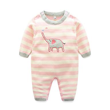 povoljno Odjeća za bebe-Dijete Djevojčice Osnovni Dnevno Prugasti uzorak Životinjski uzorak Dugih rukava Pamuk Jednodijelno Blushing Pink
