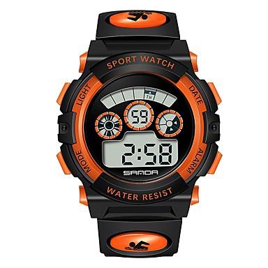 levne Pánské-SANDA Pánské Dámské Sportovní hodinky Digitální hodinky japonština Digitální Z umělé kůže Černá 30 m Voděodolné Kalendář Stopky Digitální Animák Módní - Žlutá Červená Modrá / Svítící / Fáze Měsíce