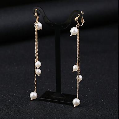 levne Dámské šperky-Dámské Syntetický diamant Náušnice - Klipsy Dlouhé dámy Tropický vzhled Elegantní družičky Náušnice Šperky Bílá Pro Párty Večírek 1 Pair