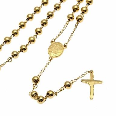 povoljno Religijski nakit-Muškarci Ogrlice s privjeskom Y Ogrlica Sa stilom Gyöngyök Lanac krunice Kereszt Vjera križ sa razapetim Isusem Stilski Europska pomodan nehrđajući Zlato 75 cm Ogrlice Jewelry 1pc Za Ulica Klub