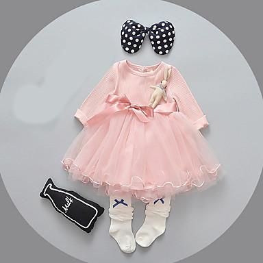 povoljno Odjeća za bebe-Dijete Djevojčice Osnovni Jednobojni Dugih rukava Pamuk Haljina purpurna boja / Dijete koje je tek prohodalo
