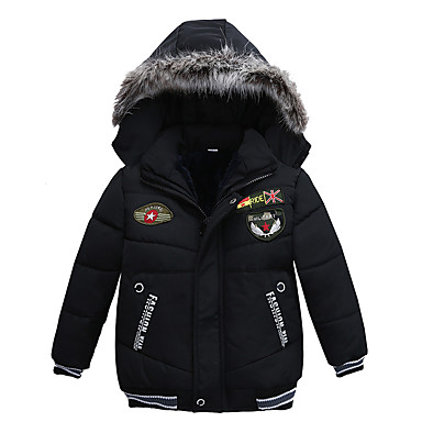 cheap Baby Boys' Outerwear-Baby Boys' Vintage / Basic Daily / Holiday Solid Colored Embroidered Long Sleeve Regular Down & Cotton Padded Black / Toddler