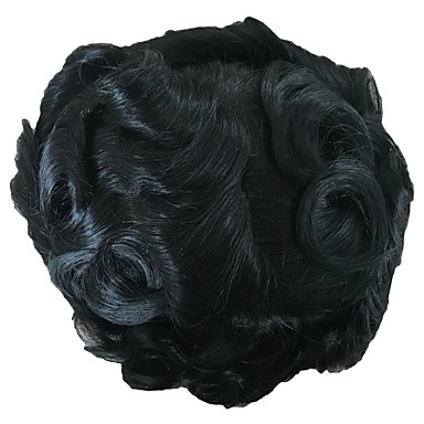 21c360e11 PANSY Indian Swiss Lace with PU Toupee Men's Hair Piece Wavy Hair System  Bleached Knots 8x10inch Jet Black 6830025 2019 – $150.00