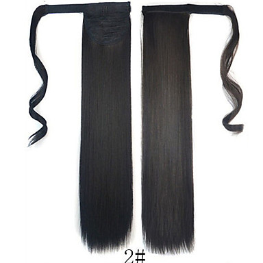cheap Clearance-Toupee Headpiece Women / Wrap Around / Tie Up Synthetic Hair Hair Piece Hair Extension Straight 18 inch Dailywear
