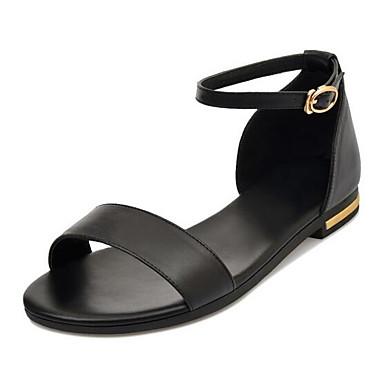levne Dámské sandály-Dámské Sandály Nízký podpatek Nappa Leather Pohodlné Jaro Bílá / Černá / Světle hnědá