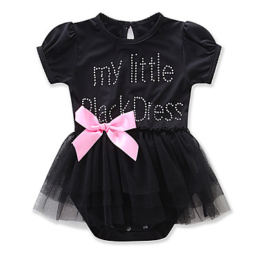 cheap Baby Girls' One-Piece-Baby Girls' Active / Street chic Daily / Holiday Solid Colored Mesh / Retro Short Sleeves Bodysuit Black / Toddler