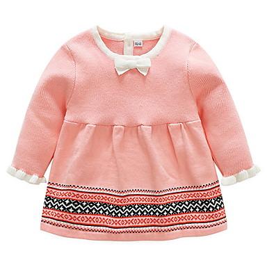 povoljno Odjeća za bebe-Dijete Djevojčice Ulični šik Prugasti uzorak Dugih rukava Pamuk Haljina Blushing Pink / Dijete koje je tek prohodalo