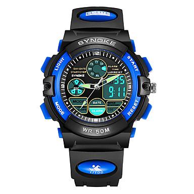 levne Pánské-SYNOKE Pánské Dámské Digitální hodinky japonština Digitální Z umělé kůže Černá / Růžová 50 m Voděodolné Kalendář Chronograf Analog - Digitál Módní - Červená Modrá Růžová / Svítící