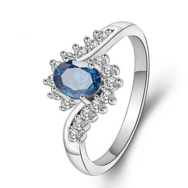 cheap Rings-Women's Ring Cubic Zirconia 1pc Blue Platinum Plated White Gold Oval Ladies Romantic Fashion Party Office & Career Jewelry Stylish Stack Simulated Creative Aquarius