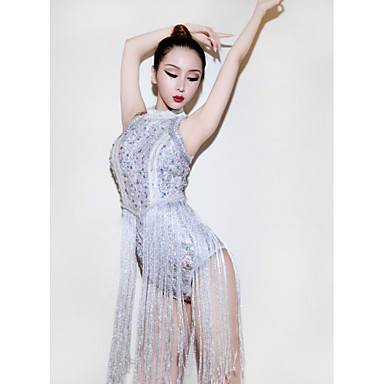 povoljno Odjeća i obuća za ples-Jazz Leotards Žene Seksi blagdanski kostimi Spandex S resicama / Kristali / Rhinestones Bez rukávů Hula-hopke / Onesie