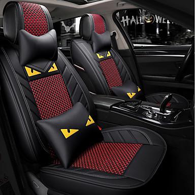 billige Interiørtilbehør til bilen-5 seter svart rød tegneserie bilsete med to nakkestøtter og to midjeputer / pu-lær og issidemateriale / kollisjonspute / airbag universal
