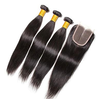 povoljno Ekstenzije od ljudske kose-3 paketi s zatvaranjem Indijska kosa Ravan kroj Ljudska kosa Netretirana  ljudske kose Ljudske kose plete Bundle kose Jedan Pack Solution 8-20 inch Prirodna boja Isprepliće ljudske kose Novi Dolazak
