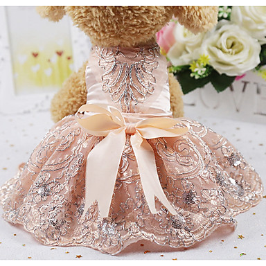 cheap Dog Clothes-Rodents Dog Cat Dress Crystal / Rhinestone Party / Evening Ordinary Dog Clothes Silver Costume Silk XS S M L XL
