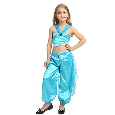 princess jasmine costume girls childs halloween halloween carnival childrens day festival holiday halloween costumes outfits cyan solid colored