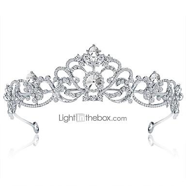 levne Dámské šperky-Dámské Formal Elegantní Štras Postříbřené Slitina Kubický zirkon Diadémy čelo Crown Svatební Párty