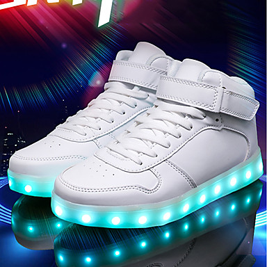 cheap Men's Sneakers-Men's Comfort Shoes Light Up Shoes Summer Sporty / Casual / USB Charging Daily Outdoor Sneakers Walking Shoes PU Breathable Wear Proof White / Black