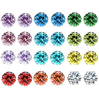 voordelige Dames Sieraden-Dames Kristal Zirkonia Amethist Oorknopjes Touw patiencespel Dames Standaard oorbellen Sieraden Regenboog Voor Dagelijks 12 Paren / citrine