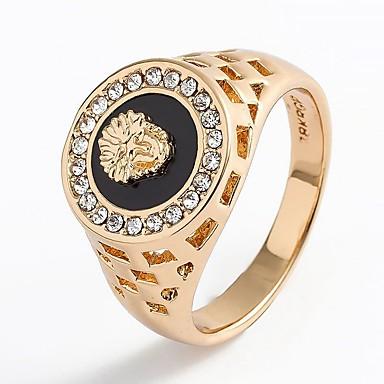 levne Pánské šperky-Pánské Prsten Pečetní prsten 1ks Zlatá Stříbrná Štras Slitina stylové Klasické Armáda Svatební Denní Šperky Laso Zvíře