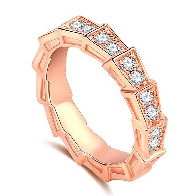cheap Rings-Women's Band Ring Ring 1pc Rose Gold Brass Rose Gold Plated Imitation Diamond Ladies Trendy Fashion Wedding Gift Jewelry Stylish Stack Halo Snake Faith Knife Edge Cool
