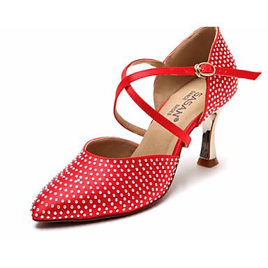 preiswerte Standardtanzschuhe & Modern Dance Schuhe-Damen Tanzschuhe Satin Schuhe für modern Dance Absätze Schlanke High Heel Braun / Rot / Leistung / Praxis