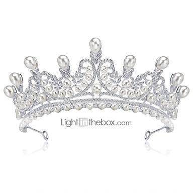 levne Dámské šperky-Dámské Formal Elegantní Štras Postříbřené Umělé diamanty Kubický zirkon Diadémy čelo Crown Svatební Párty