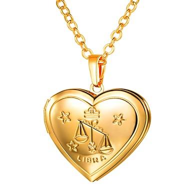 levne Dámské šperky-Dámské Náhrdelníky s přívěšky Dlouhé Zvěrokruh Ryté Medailónek Váhy dámy Romantické Módní Měď Zlatá Stříbrná 55 cm Náhrdelníky Šperky 1ks Pro Dar Denní