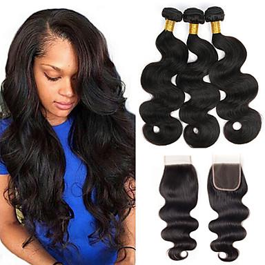 povoljno Ekstenzije od ljudske kose-3 paketi s zatvaranjem Brazilska kosa Wavy Ljudska kosa Jedan Pack Solution Prirodna boja Isprepliće ljudske kose proširenje Proširenja ljudske kose / 8A