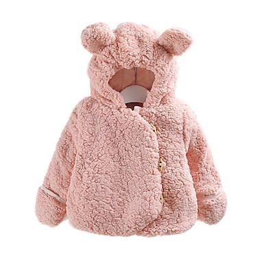povoljno Vanjska odjeća za bebe-Dijete Djevojčice Osnovni Dnevno Jednobojni Dugih rukava Normalne dužine Pamuk Jakna i kaput Braon / Dijete koje je tek prohodalo