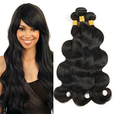 povoljno Ekstenzije od ljudske kose-4 paketića Brazilska kosa Tijelo Wave Ljudska kosa Ekstenzije od ljudske kose 10-28 inch Isprepliće ljudske kose Žene proširenje Prirodno Proširenja ljudske kose / 8A